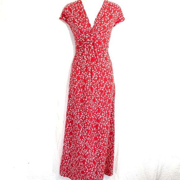 Lands' End Dresses & Skirts - LAND'S END Red Floral Maxi Cotton Knit Dress ~sz S